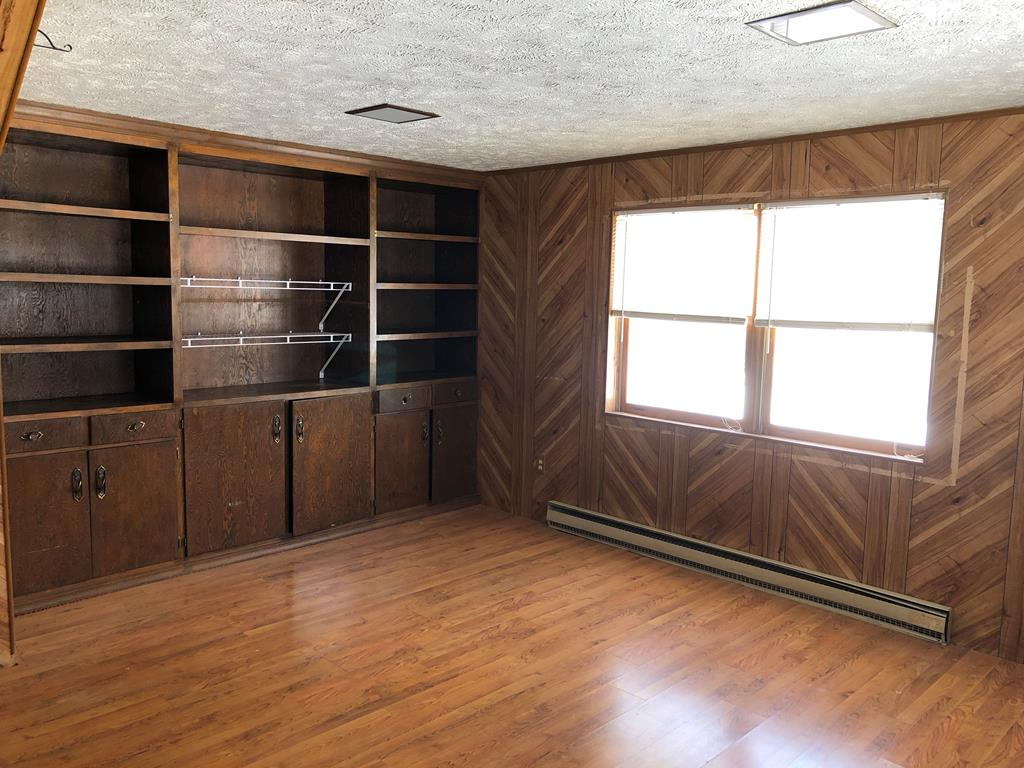 Family room with built-in shelves